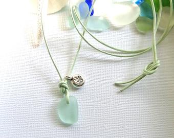 Leather Sea Glass Necklace Seafoam Genuine Beach Glass