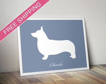 Personalized Pembroke Welsh Corgi Silhouette Print with Custom Name - Corgi art, modern dog home decor