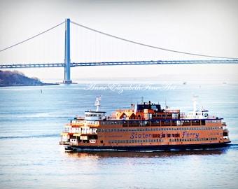 Staten Island Ferry, Fine Art Photograph, New York, Manhatten, Sunrise,New York Harbor, Dorm Decor, Vintage Blue, Orange, Bridge,Dorm,Travel