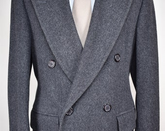 Gordon Thomas Collectbles Charcoal Gray Wool Double Breasted Overcoat Size: 38