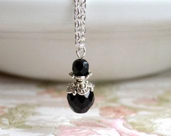 Black Bridesmaid necklace Black and silver wedding jewelry Bridesmaid Gift Black bridesmaid jewelry Vintage weddings Goth wedding