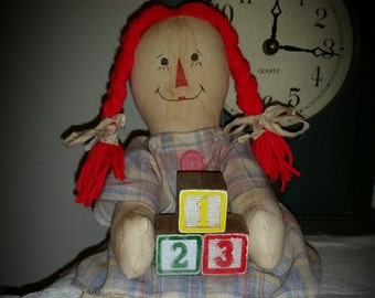 primitive raggedy Mother's Day doll,  OFG, FAAP, raggedy doll shelf sitter, everyday raggedy doll, toy room raggedy doll, prim doll