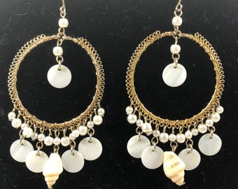 Vintage shell and gold tone dangle earrings