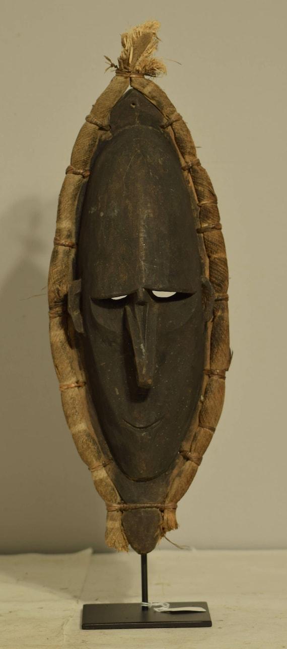 Papua New Guinea Mask Black Wood Lower Sepik River Ancestor Ceremonial Mask