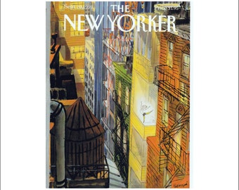 """Vintage The New Yorker Magazine Cover Poster Print Art, 1993 Matted to 11"""" x 14"""", Item 4018, Arabesque, Ballet, Dance"""