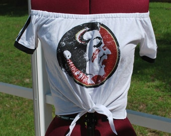 Florida State Seminoles Shirt Upcycled Off Shoulder Cropped with tie Waist, One Shoulder Size S/M