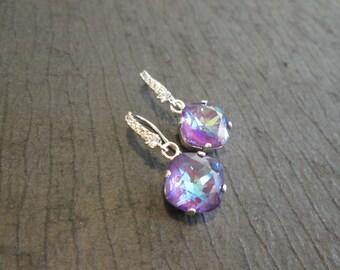 Ultra Purple Swarovski Crystal Earrings/Bridesmaid Jewelry/Wedding Earrings/Ultra Purple Crystal Earrings/Purple Crystal Wedding Jewelry