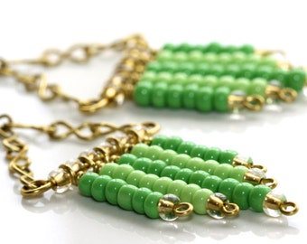 Green Chandelier Earrings - 'Intervened Infinity'