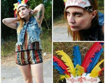 Vintage 50's Cherokee made souvenir children's make believe Indian  headdress