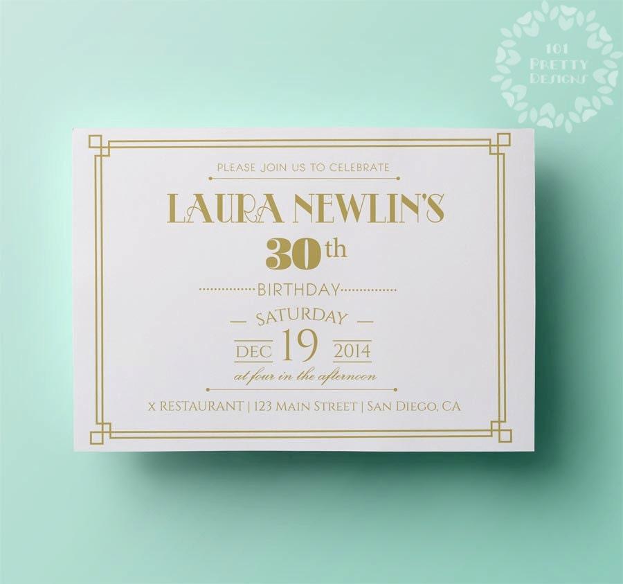 Gold Birthday Invitation Template Elegant Birthday Invitation - Party invitation template: white party invitation template