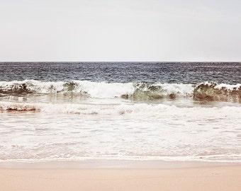 "Neutral Ocean Photography Print, Light Grey White Sea Art, Pale Sea Landscape, Large Seascape Photo, Gray Seashore, ""At One With the Sea"""