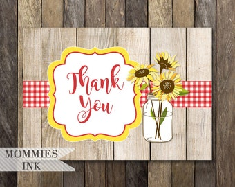 Folded Thank You Note, Sunflower Thank You Note, Rustic Sunflower, Rustic Thank You Note, Sunflower Thank You Card, Folded Thank You Card