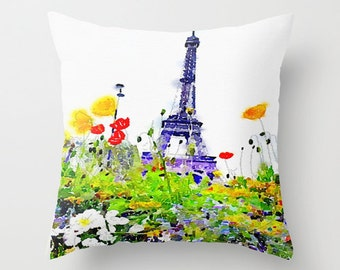 Paris Spring Watercolor Pillow Cover. Eiffel Tower with Flowers Painting, Paris Pillow, Pretty Colorful Watercolor Pillow, Paris Painting,