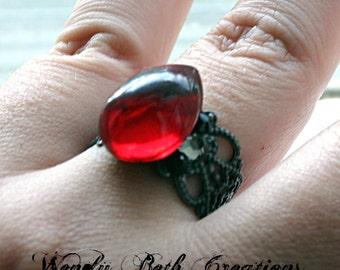 Red Tear Drop Steampunk Bindi Style Ring - Red Ring, Rhinestone Ring, Vampire