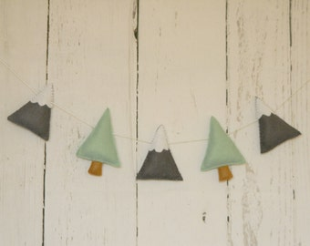 Garland Mountains and Pine Trees Garland  Felt Mountains garland Nursery decor Wall Decor scandinavian nursery decorations Adventure decor