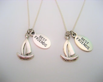 Best Friends Boat Necklace Set Tiny Sailboat Necklace Boat Jewelry Choose Your Chain Nautical Necklace Nautical Jewelry Beach Jewelry