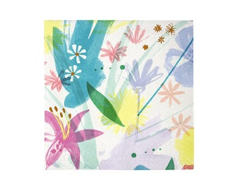 Toot Sweet Painted Flowers Paper Napkins, Large, Meri Meri, Party Supplies, Tableware, Easter, Spring, Mother's Day, Party Theme