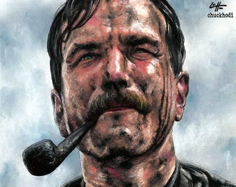 """Print 8x10"""" - Daniel Plainview - There Will Be Blood Daniel Day-Lewis Paul Thomas Anderson Oil Prospecting Mustache Pop Art Lowbrow Art"""