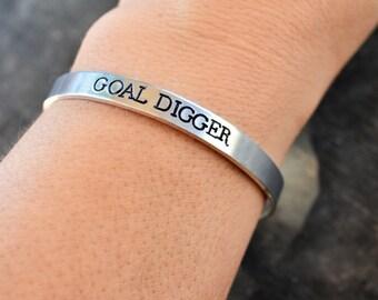 """Hand Stamped Cuff Bracelet """"GOAL DIGGER"""" *Personalized Bracelet*Gift for Her*Motivational Bracelet*Fitness Bracelet*"""