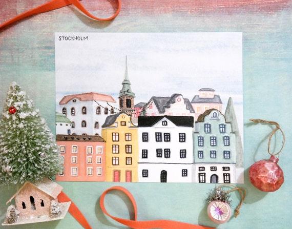 Christmas in Stockholm, Sweden Watercolor Art Print