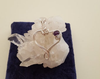 Fine and Sterling Silver Wire Woven Heart Pendant with Amethyst Accent