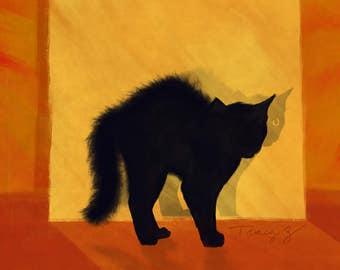 Large, giclee, print, 11x14, cat, black cat, Why I oughta