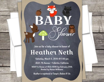 Woodland Animals Baby Shower Invitation Customized for your Event