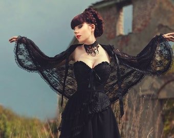 Gothic Victorian Vampire Elegant Burlesque Lolita black LACE CAPE with big hood, spring, summer, festival