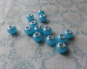 Set of European 4perles blue opaque