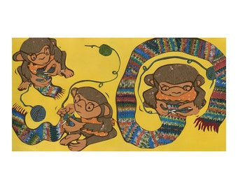 Knitting Monkeys, giclee print