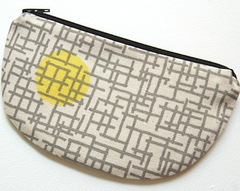 Change Purse, Small Zipper Pouch, Coin Pouch, Women and Teens, Mini Wallet, Gift For Her, Skinny LaMinx, Lemon Gridly