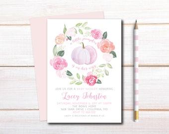 Little Pumpkin Baby Shower Invitation, Fall Baby Shower Invitation, Printable, DIY, Little Pumpkin on the way, floral pink pumpkin