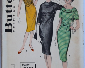 Vintage Sewing Pattern 1960s Womens Fitted Wiggle Dress with Buttoned Collar  Size 13 Bust 33 Butterick 8864