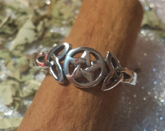 Ring Triquetra and Pentacle, Celtic, paganism, Wicca, Wiccan jewelry, silver, pentagram