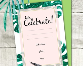 Monstera Palm Leaf Printable Party Invitation