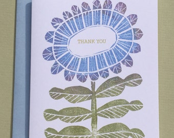 Blue Flower Thank You Note Card