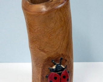Vase with ladybug
