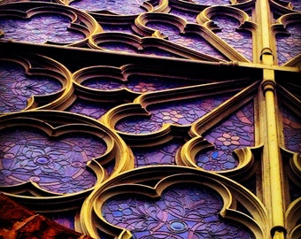 "Purple Stained Glass Church Old San Francisco 8x8"" photo Up"