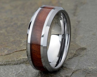 Wood Inlay Ring Etsy