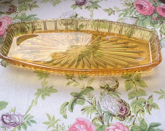 Vintage Amber Glass Sandwich Tray/Appetiser Tray/ Pressed Glass/Cut Glass  - 1960's