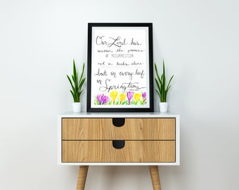 Printable Springtime Crocus Flower Watercolor Print - Martin Luther Quote, Hand lettered Painting