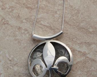 Sterling Silver Fleur de Lis Pillow Pendant