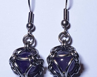 Amethyst and Stainless Steel Crystal.Earrings