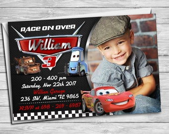 Cars Birthday Invitation, Disney Cars Party Invite, Cars Lightening McQueen Digital Printable, Cars Chalkboard Custom Invitation | MCA_01