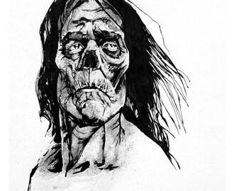Original Frankenstein Monster Ink Portrait