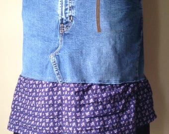 Upcycled Denim - Bohemian Style Jean Skirt - Size 14