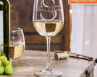 Personalized Wine Glass, Wine Gift, Custom Wine Glass, Wedding Gift For Couple, Wedding Wine Glass, Etched Wine Glass, Monogram Wine Glass
