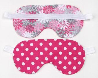 Pink Polka Dot with flowers Sleeping Eye Mask