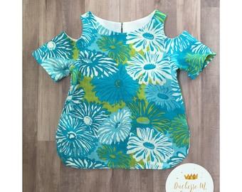 Toddler Cold shoulder top, modern top, 4t girl top, blue flower top