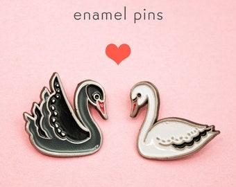 Best Friend gift - ENAMEL PIN SET Swan pins Swan enamel pins, girlfriend gift, Valentines Day gift idea best friends pins pastel goth grunge